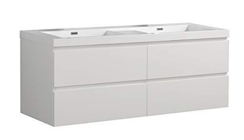 Badmöbel Unterschrank ALGO-140 inkl. Doppelwaschtisch (hochglanz-weiß)