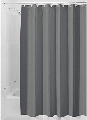 iDesign Duschvorhang aus Stoff, waschbarer Badewannenvorhang aus Polyester in...