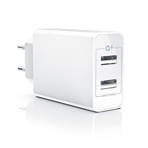 CSL - USB Ladegerät Netzteil Ladeadapter - 2 Ports mit 24W - intelligentes...
