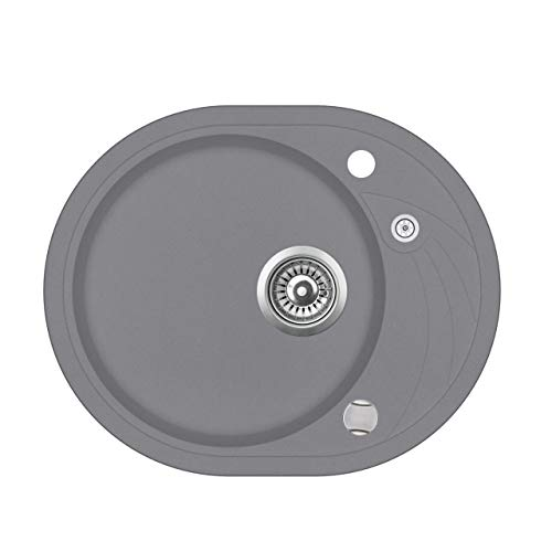 Granit Einbauspüle Küchenspüle Spülbecken Spüle mit Abtropffläche oval...