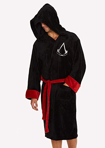 Groovy Assassin's Creed Bademantel mit Kapuze, Polyester, Schwarz,...