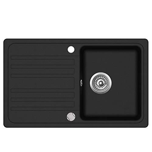 Granit Einbauspüle Küchenspüle Spülbecken Spüle mit Abtropffläche schwarz...