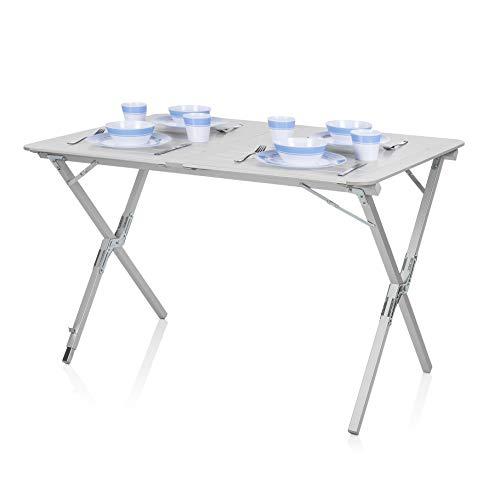 Campart Campingtisch/Reisetisch-110x70 cm wetterbeständige Rolltischfläche aus...