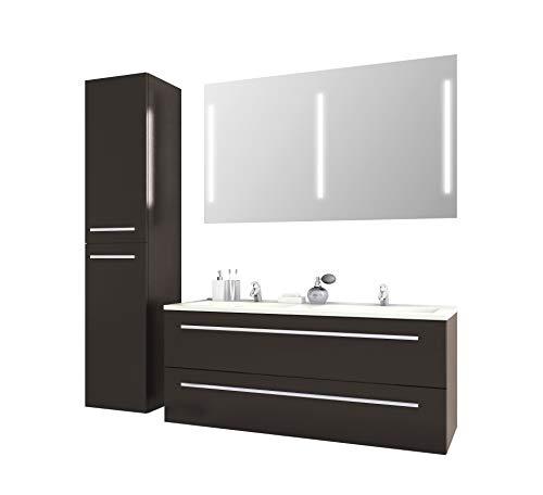 Badmöbelset Libato Waschtischunterschrank mit Hochschrank und Leuchtspiegel 60...