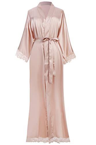 ArtiDeco Damen Morgenmantel Maxi Lang Seide Satin Kimono Kleid Einfarbiger...