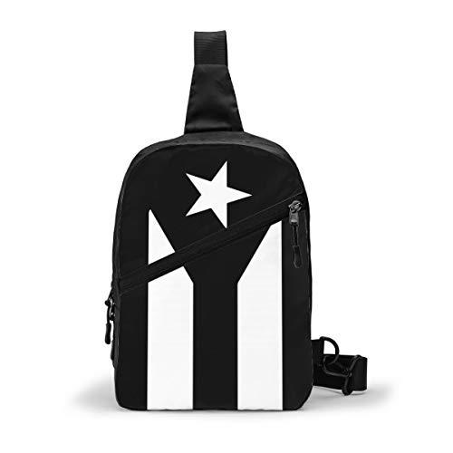 Pr Schwarz und Weiß Puerto-Rican-Flagge Sling Bag Chest Pack Crossbody Schulter...