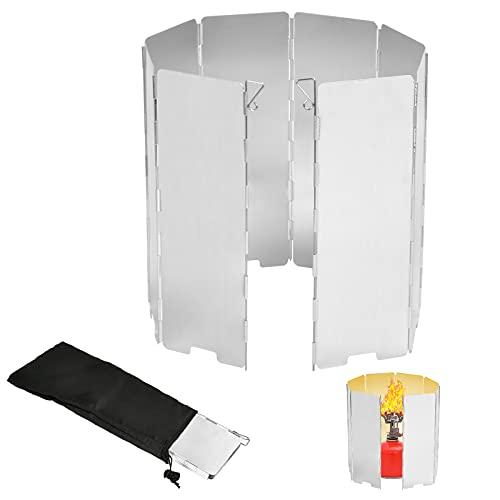 EKKONG Faltbar Aluminium Windschutz,Windschutz Gaskocher, Windschutz für...
