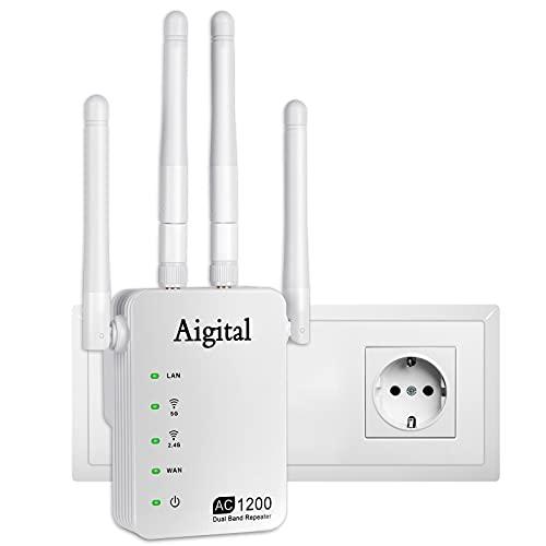 Aigital 1200Mbit/s WLAN Repeater, Handlichen WLAN Verstärker Extender DualBand...