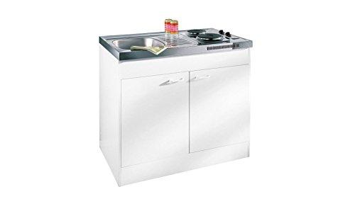 respekta Miniküche Single Pantry Küche Küchenblock 100 cm Weiss ohne...