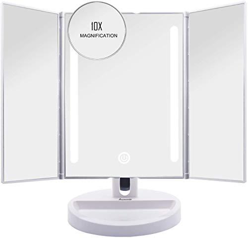 Auxmir Kosmetikspiegel mit LED Licht, Schminkspiegel Beleuchtet mit Blendfreier...