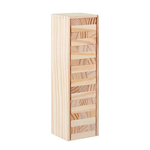Relaxdays Wackelturm Holz, 54 Bausteine zum Stapeln, lustiges Stapelspiel für...