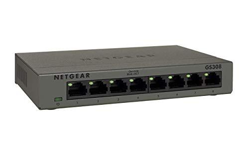 Netgear GS308 8-Port Gigabit Ethernet Unmanaged Switch (für Desktop, robustes...