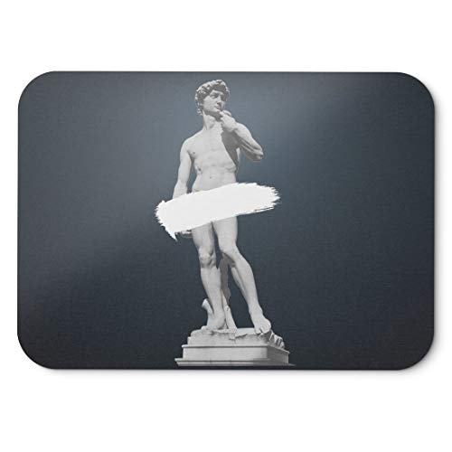 BLAK TEE Ancient David Statue Mouse Pad 18 x 22 cm in 3 Colours Black