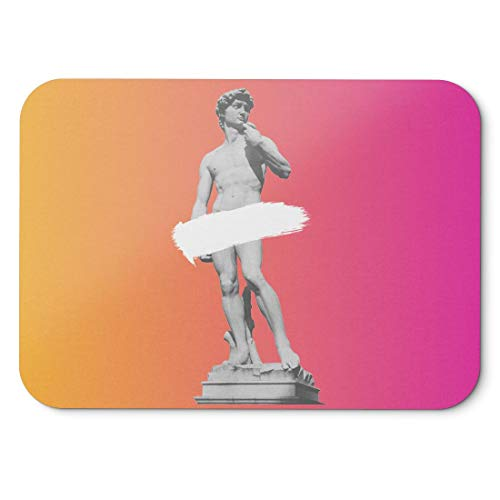 BLAK TEE Ancient David Statue Mouse Pad 18 x 22 cm in 3 Colours Pink Yellow