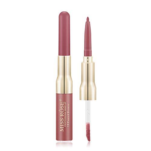 Kapian Doppelkopf Lippenstift,Lipgloss Lip Liner 12 Farbe Doppelkopf...