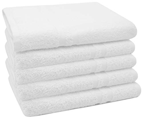 ZOLLNER 5er Set Duschtücher, 70x140 cm, 100% Baumwolle, 450g/qm, weiß