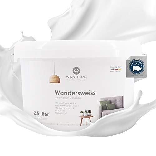 Wanders24 Wandersweiss (2,5 Liter, Weiß) Wandfarbe weiß hohe Deckkraft -...