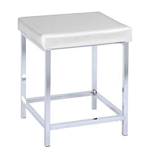 WENKO Hocker Deluxe Square White - Badhocker, gepolsterte Sitzfläche,...