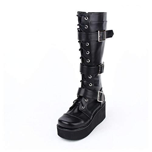 DJDLNK Lolita Platform Schnürstiefel Muffin Belt Buckle High Boots
