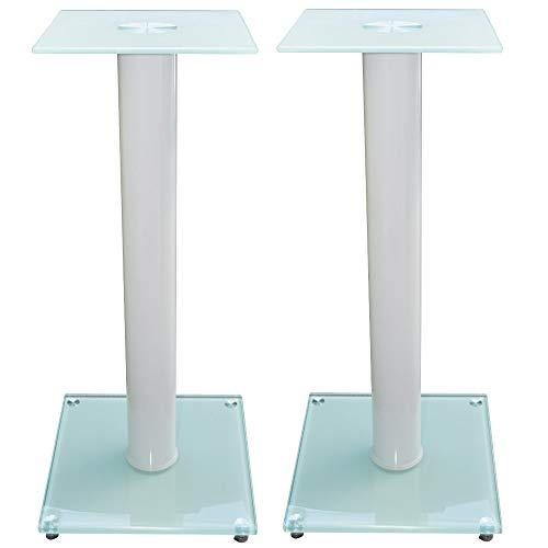 1 Paar Boxenständer V1 White-Line aus Glas/Alu mit Spikes, 1 Säule, mit...