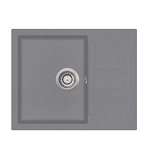 Granit Einbauspüle Küchenspüle Spülbecken Spüle mit Abtropffläche eckig...