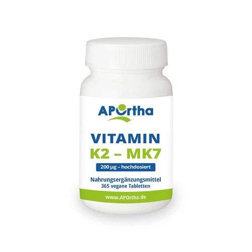 APOrtha Vitamin K2 MK7 200 µg 99+% ALL-Trans I 365 vegan Tabletten hochdosiert...