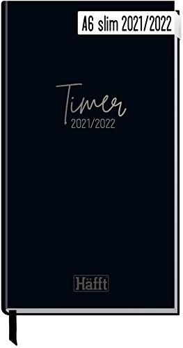 Häfft-Timer A6 Slim 2021/2022 [Just Black] Schüler-Kalender im...