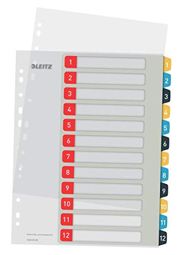 Leitz PC-beschriftbares Register in A4 Format, 1-12, Robust, Mehrfarbig,...