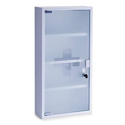 Zeller Medizinschrank, Metall, weiß, 30 x 12 x 60 cm