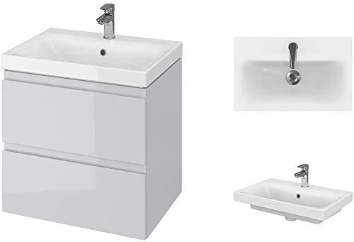 VBChome Badmöbel Slim 60 cm Grau Waschbecken mit Unterschrank Waschtisch...
