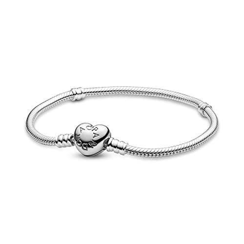 Pandora Moments Schlangen-Gliederarmband mit Herz-Verschluss Sterling Silber...