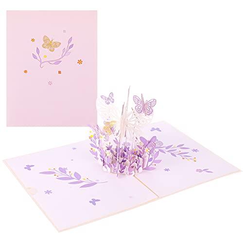 Popuppe Pop-up 3D Grußkarte Aufpoppen Schmetterling Blumenkorb Karte Fein...