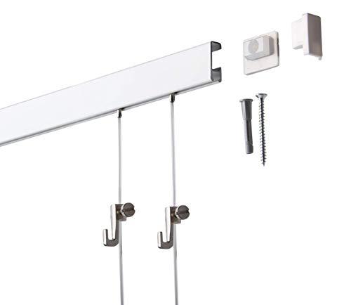 4 Meter SOFT-RAIL® Bilderschienen Set BUDGET, Silber-matt eloxiert, versch....