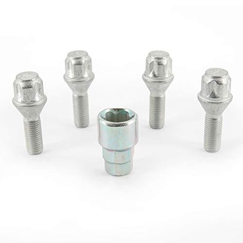 H&R 1252801KEY4 Set M12x1.50x28mm Kegelbund-4 Felgenschloss-Schrauben inkl....