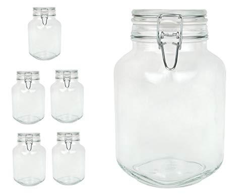 Bormioli Fido Gläser mit Bügelverschluss 6 teilig | Füllmenge 2 L |...