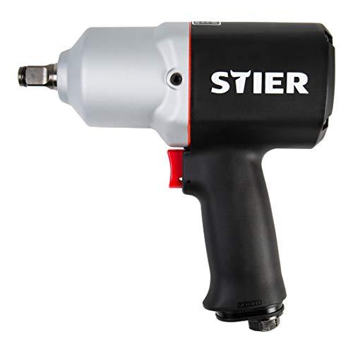 STIER Druckluft Schlagschrauber 15-PC, 1/2 Zoll, Stecknippel 1/4 Zoll,...