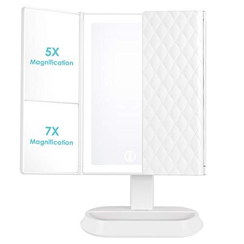 Auxmir Kosmetikspiegel mit LED Licht und 5X/ 7X-Vergrößerungsspiegel,...