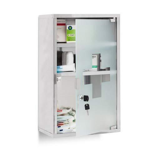 Relaxdays EMERGENCY Medizinschrank XL extra tief aus Edelstahl HxBxT: ca. 50,5 x...