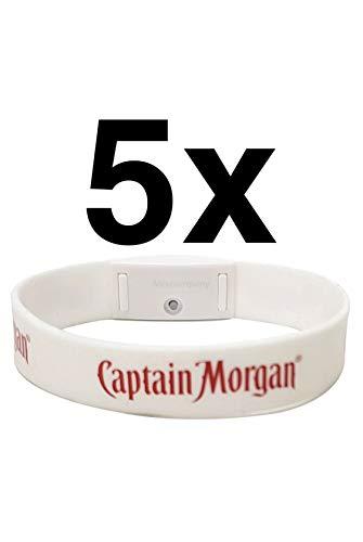 Captain Morgan Silkon Armband weiß mit roter LED und Logo - 5er Set