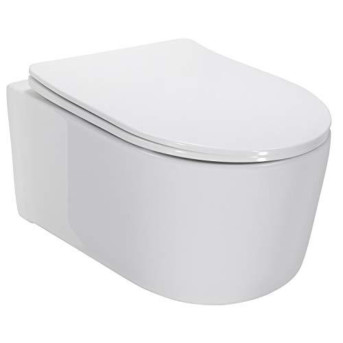 Adige Design Hänge WC spülrandlos Toilette inkl. WC Sitz mit Softclose...