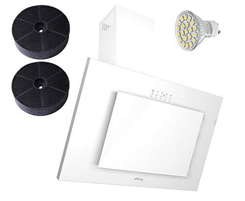 HAAG Vertikal Weiß Glas LED, Kohlefilter GRATIS! BREITE 60 cm Dunstabzugshaube,...
