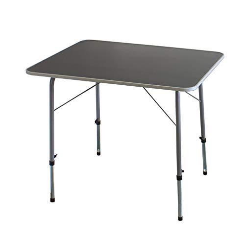 Klapptisch 80x60cm höhenverstellbar 50/70cm Aluminium/Kunststoff Silber/Grau...