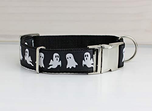 Hundehalsband mit Geistern, Gespenst, Halloween, schwarz und weiß, modern,...