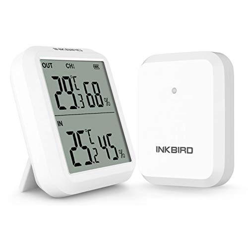 Inkbird ITH-20R Funk Thermo Hygrometer mit Außensensor,Innen Temperatur...