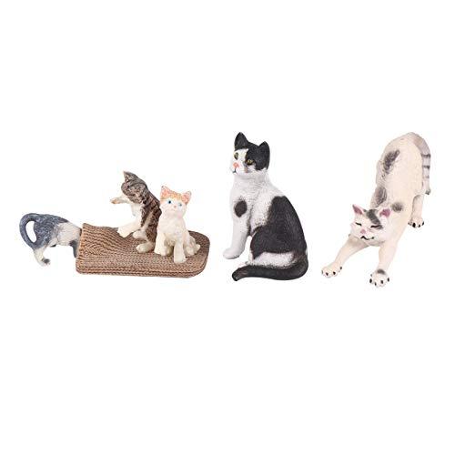 Yarnow Miniatur Katze Figuren Kätzchen Statue Verzierung Ornament Kunststoff...