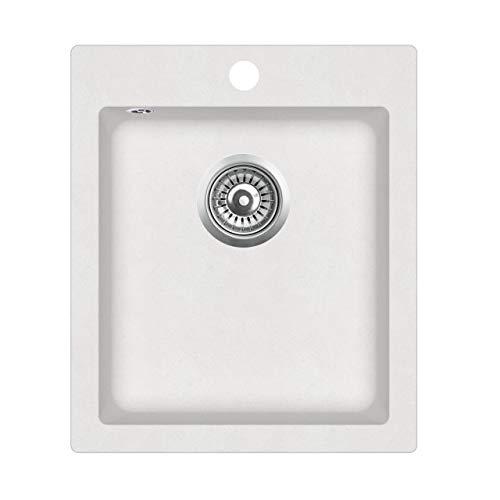 Granit Einbauspüle Küchenspüle Spülbecken Spüle eckig weiss 42,5 x 50 cm
