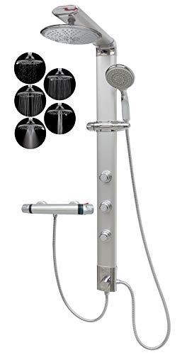Duschpaneel mit Thermostat Regendusche Duschsäule Silber Handbrause...