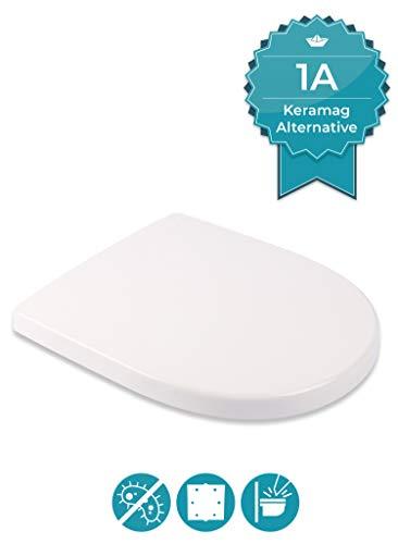 Calmwaters Antibakterieller WC Sitz für Keramag iCon 204000 & 204060, D-Form...