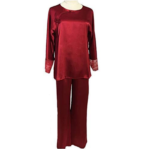 AXIANQIPJS Frauen Silk Solid Color Schlafanzüge Sets Bottoms Hosen Fashion...