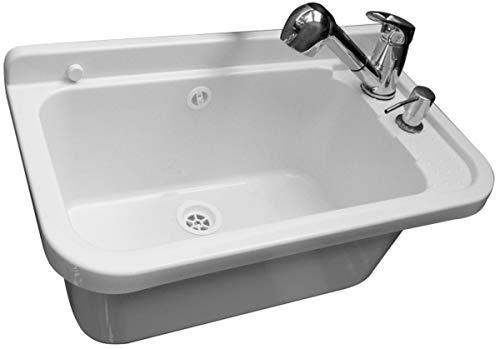 Waschbecken Ausgussbecken Waschtrog mit Armatur und Seifenspender 50 cm x 34 cm...